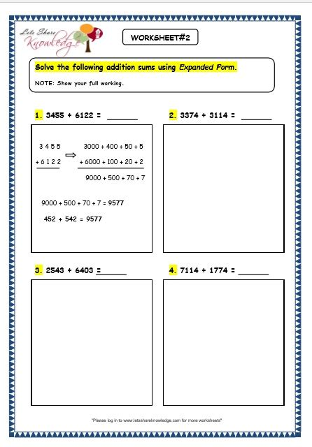 Expanded Form Addition Worksheets  Ingenuity Photo Expanded Form Worksheets 4th Grade Images