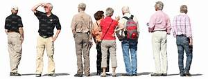 eight elderly people standing and looking around - cut out ...