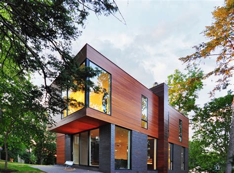 compact cantilevered house in historic
