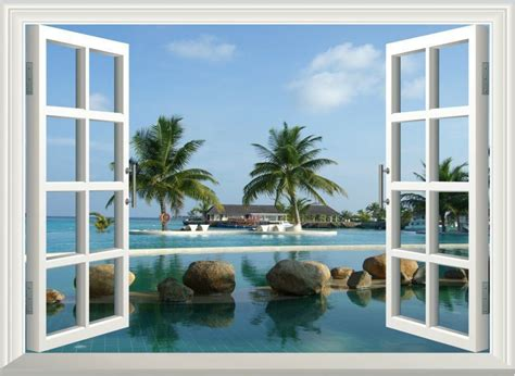 Home Decor 3d Wall Stickers : 3d Palm Tree Window View Removable Wall Art Stickers Vinyl
