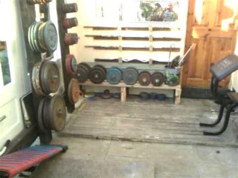 homemade gym plate rack stand tree youtube