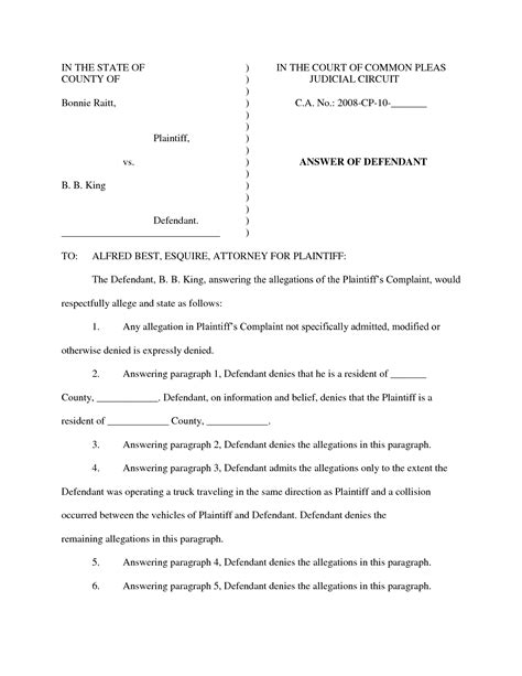 lawsuit answer template 25 images of answer to complaint template infovia