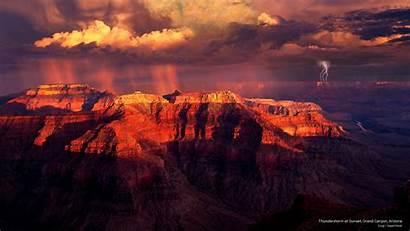 Sunset Canyon Grand Thunderstorm Arizona Webshots Weather