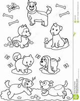 Coloring Dogs Cartoon Royalty Different Children Illustration Animal Printable Getcolorings Seven sketch template