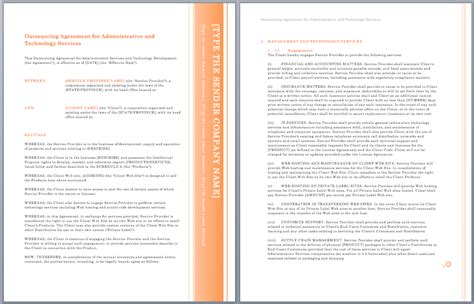 outsourcing agreement template administrative
