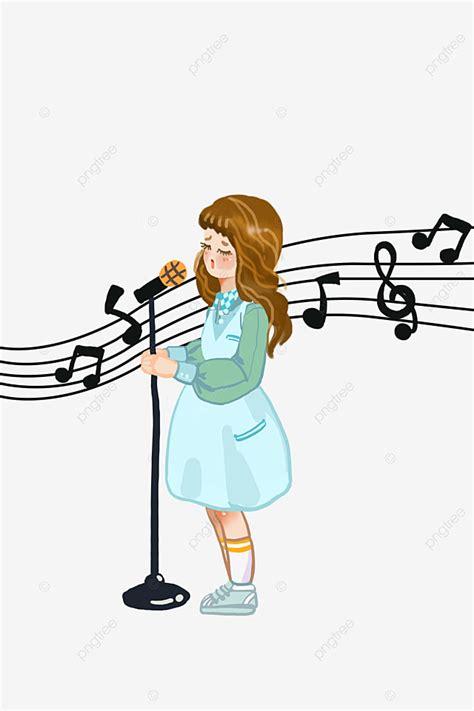 A Little Girl Singing Cartoons Cartoon Kid Woman Singer