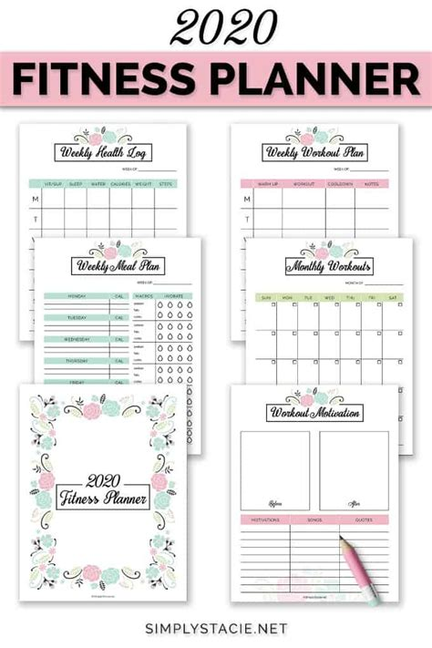 fitness planner  printable simply stacie