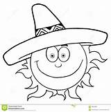 Sun Sombrero Cartoon Smiling Outline Hat Coloring Drawing Outlined Happy Mexican Wearing Clip Vector Clipart Character Characters Weather Pages Hittoon sketch template