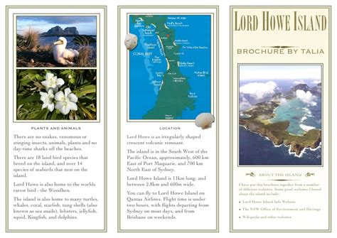 Island Brochure Template by Lord Howe Island Project Brochure