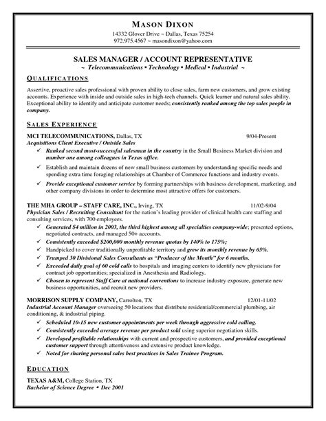 resume summary for inside sales inside sales sle resume gallery creawizard