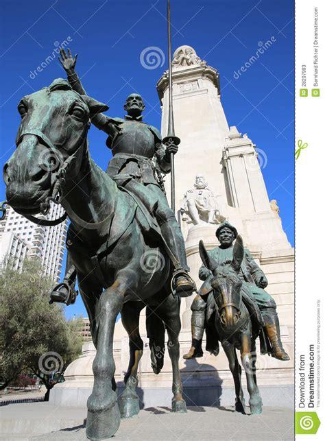 cervantes monument madrid stock image image  bronze