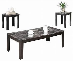 monarch specialties black grey marble look top 3 piece With grey marble coffee table set