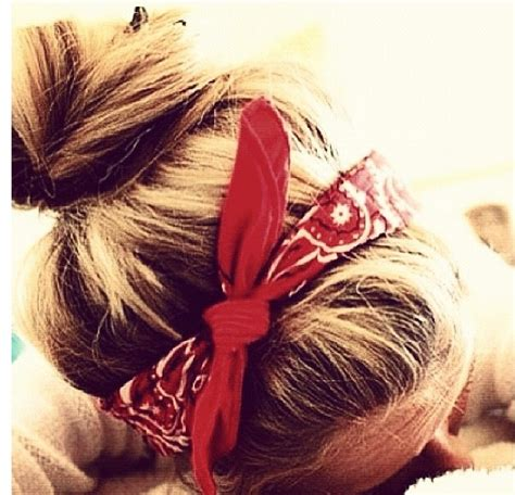 messy bun   red bandana hair pinterest