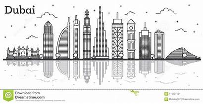 Uae Vector Illustrations Dubai Skyline Buildings Line