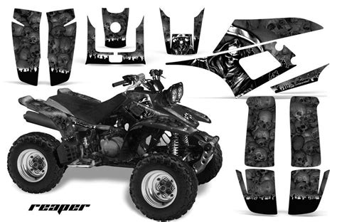 amr racing atv graphic kit yamaha warrior deco 350 part decals reaper black decals emblems