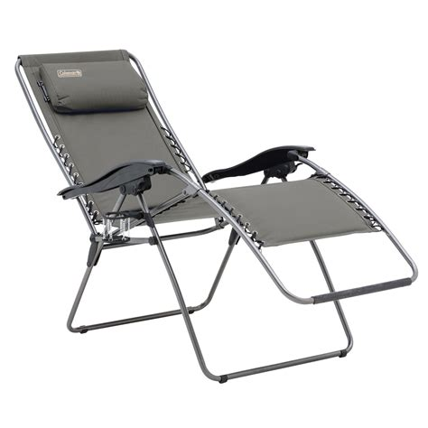 coleman chair flat fold layback lounger charcoal grey