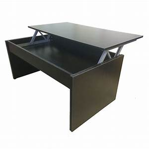 Redstone lift up top coffee table with storage black for Opening coffee table
