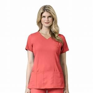 WonderWink Easy Fit Shirred Fashion Wrap Top in Bright