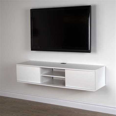 White Wooden Floating Tv Media Console With Small Center