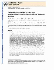 (PDF) Adibhatla RM, Hatcher JF. Tissue plasminogen ...