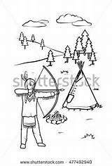 Indian Coloring Native Tepee Shutterstock Zdroj Pinu sketch template