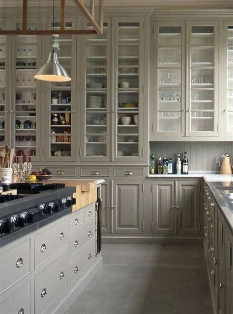 Beautiful Cupboards by Grey Kitchen With Beautiful Glass Cabinet Design Via