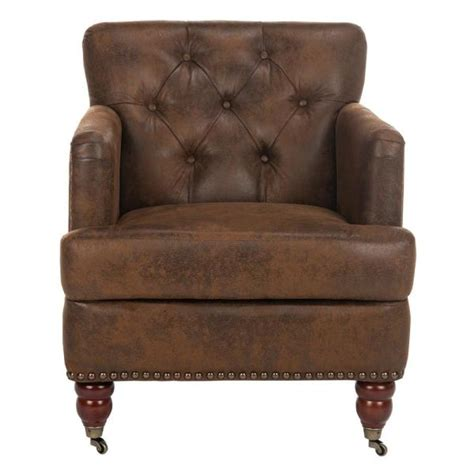 Safavieh Colin Chair by Safavieh Colin Distressed Brown Leather Arm Chair Hud8212b