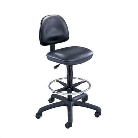 black vinyl drafting chair with ring foot rest 3406bl