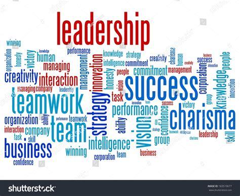 Leadership Teamwork Word Cloud Illustration Word Stock