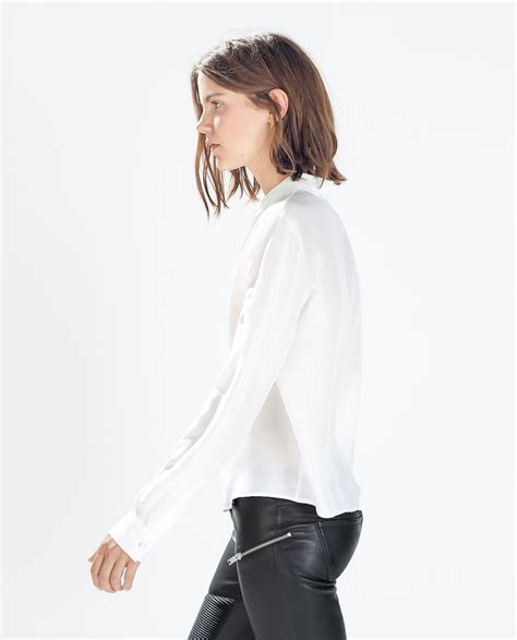 zara white blouse zara silk blousen with shirt collar in white lyst
