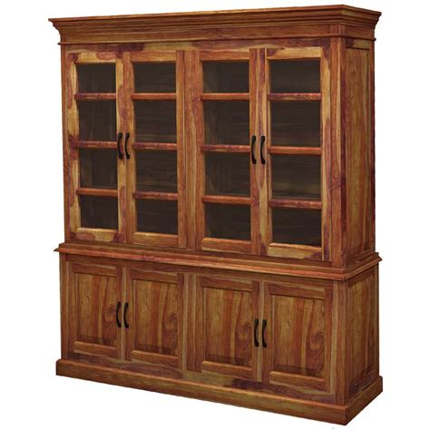 oklahoma rustic solid wood glass door large kitchen hutch