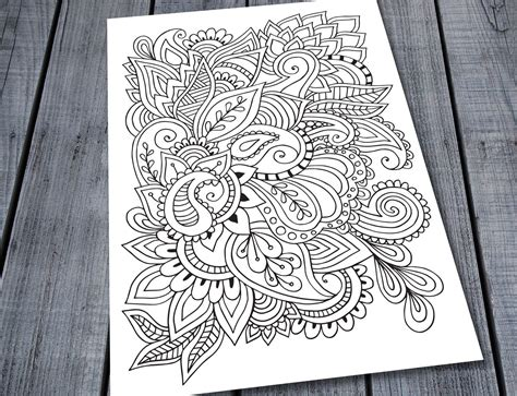 Paisley Doodle Adult Colouring Page, Printable Pattern