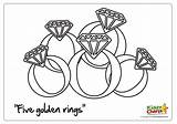 Rings Golden Five Christmas 5th Coloring Pages Colouring Sheet Kiddycharts sketch template