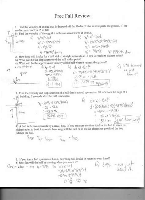 physics friction worksheet freefall review science