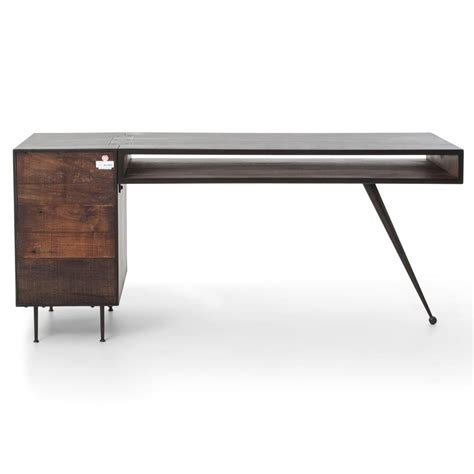 metal and wood desk with drawers forman retro modern industrial loft metal wood 3 drawer desk