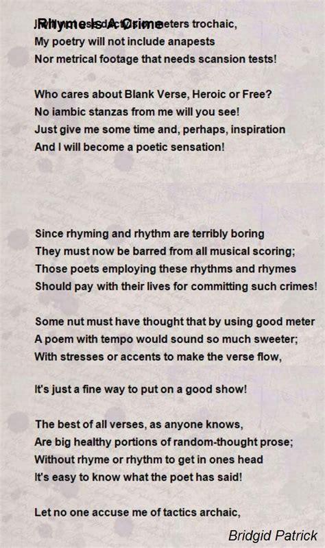 rhyme   crime poem  bridgid patrick poem hunter
