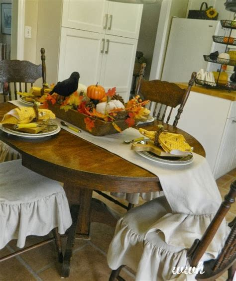 White Weathered Hutch Fall Harvest Table