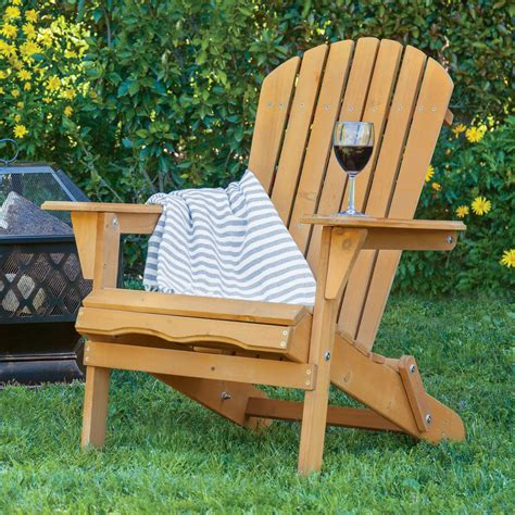 outdoor wood adirondack chair foldable patio lawn deck