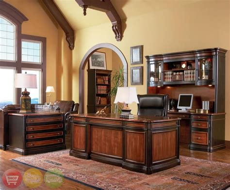 Office Furniture Sets by Wood 3 Executive Office Desk Credenza Hutch Ebay