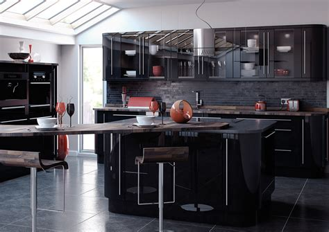 gloss black kitchen cabinets reflections high gloss kitchens crown house 3845