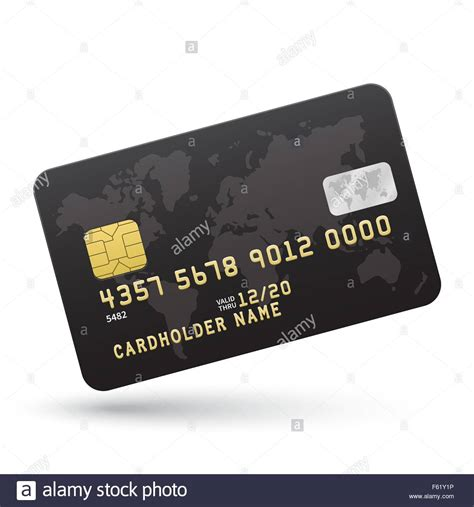 realistic black credit card isolated  white background