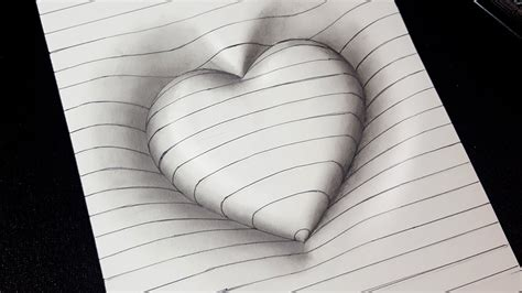 Easy Drawing! How To Draw 3d Heart With Lines