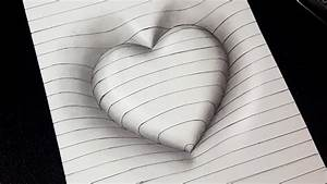Easy Drawing  How To Draw 3d Heart With Lines