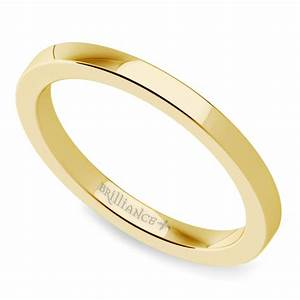 flat wedding ring in yellow gold 2mm With flat wedding rings