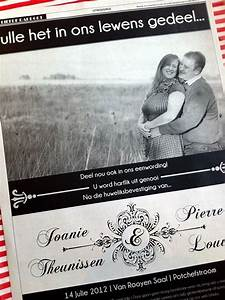 Afrikaans wedding invitation i like this but in english for Wedding invitation making course