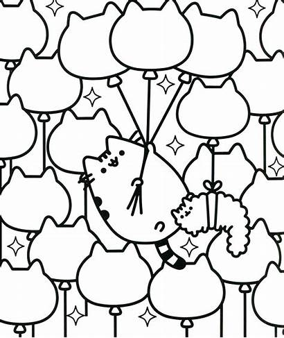 Pusheen Coloring Pages Cat Kitties Balloon