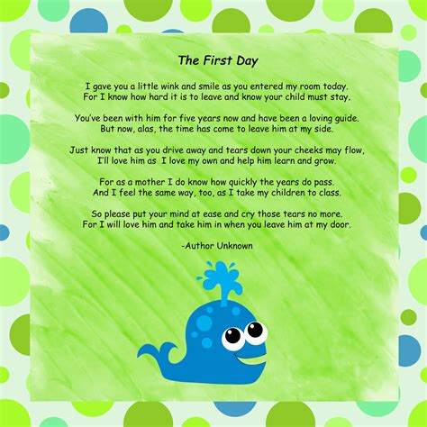 mrs perry s kindergarten day poem 526 | First Day Poem