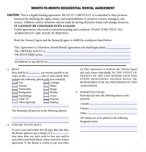 month  month lease agreement templates
