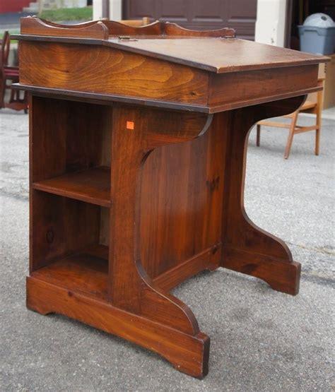 Vintage Pine Davenport Style Captains Desk Slant Top W