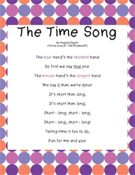time song lyrics for 29 the song of the steeple the time song by angela ziegler teachers pay teachers